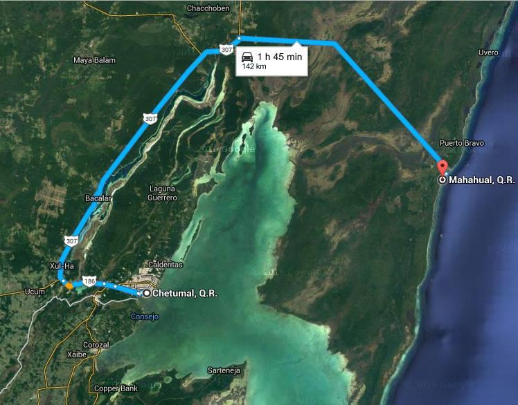 Rutas de Chetumal a Mahahual