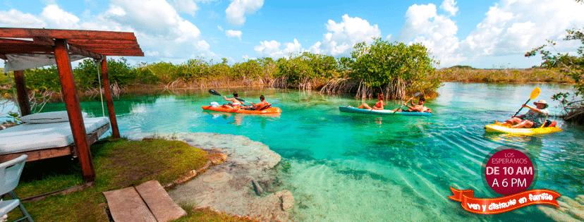 kayak en los rapidos bacalar